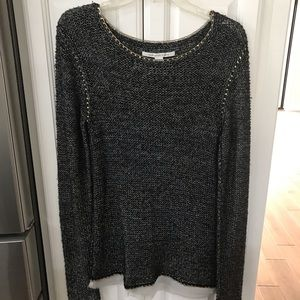 DVF Charcoal sweater with gold metal edging